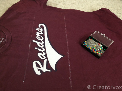 upcycled t-shirt pinned to make a lavender sachet