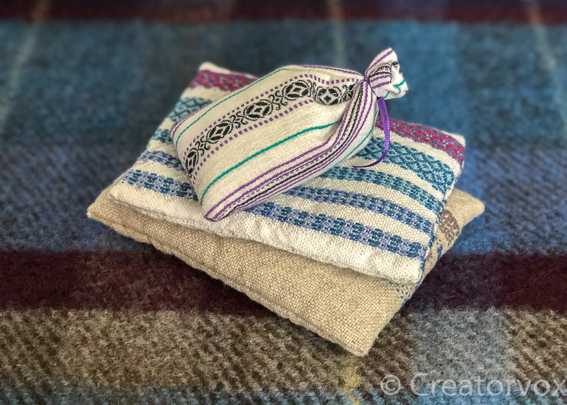 lavender sachets made from upcycled fabrics and t-shirts