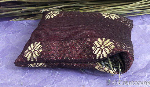 upcycled fabric stuffed with lavender to make sachet
