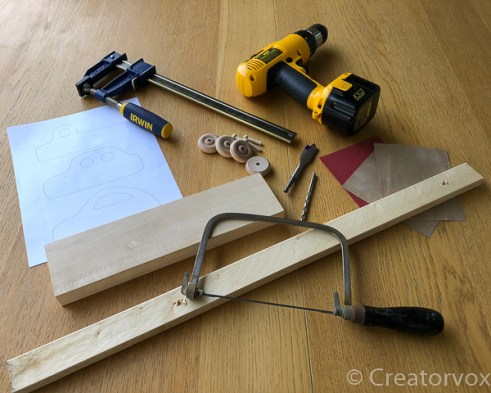 tools for making a wooden toy car