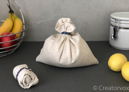 reusable produce bags in unbleached cotton