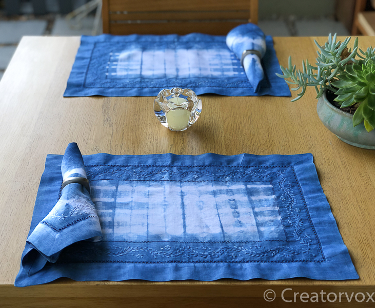 shibori indigo dyeing place mat and napkin