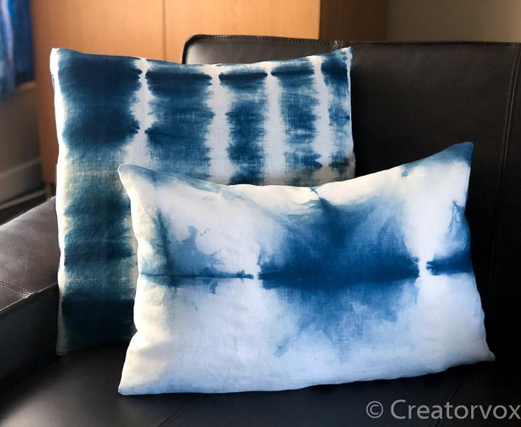 indigo dye vat shibori pillows fi
