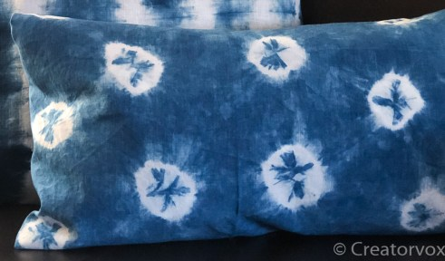 indigo dye vat spots on pillow