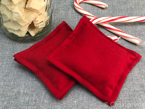 pocket hand warmers with peppermint bark