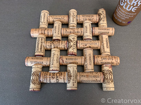wine cork trivet project fully glued