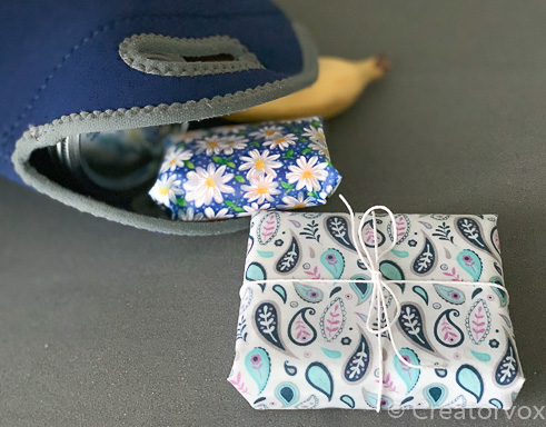 lunch items wrapped in beeswax food wraps