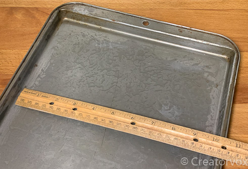 measure baking tray inside length and width