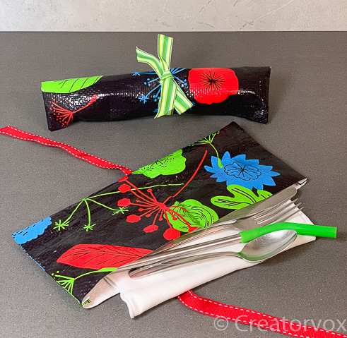 upcycled travel cutlery holders black floral pattern