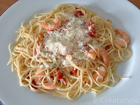 shrimp pasta with parmesan cheese