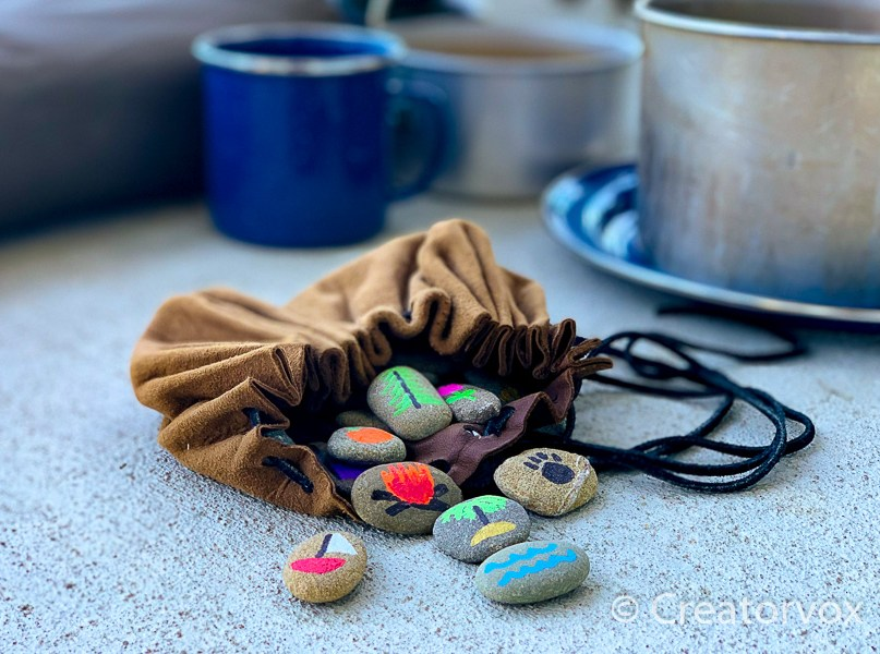 story stones with bag
