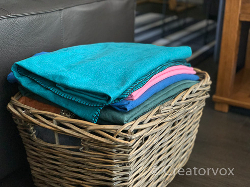 basket of eco friendly blankets