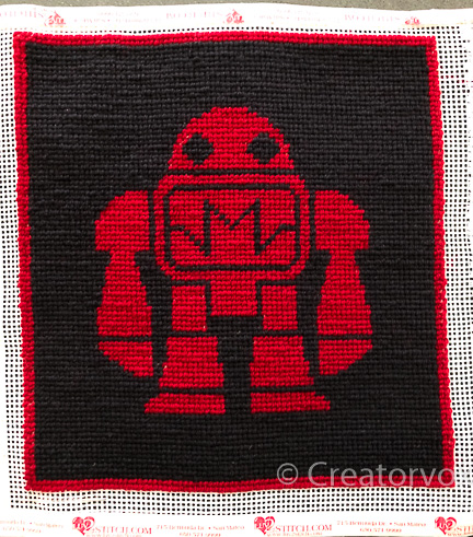 needlepoint Makey in red and black