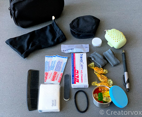 in flight organizer pouch with overnight flight items