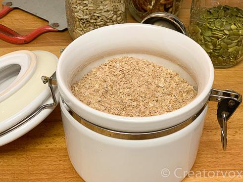 wheat bran in a ceramic canister