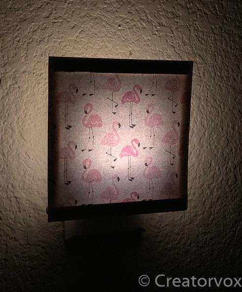 flamingo nightlight at night