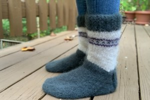Knit Cozy Mukluk Slippers From Scrap Yarn