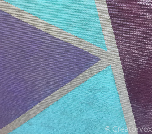 details of a three color fabric mural