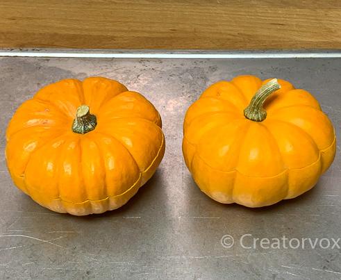 mini pumpkins ready for baking