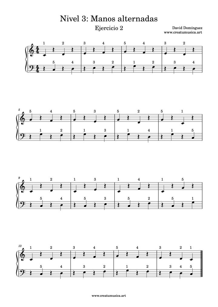 Ejercicio 2 de digitación de Piano Nivel 3