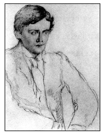 Sketch of Ernest Dowson by William Rothentstein in early 1890s