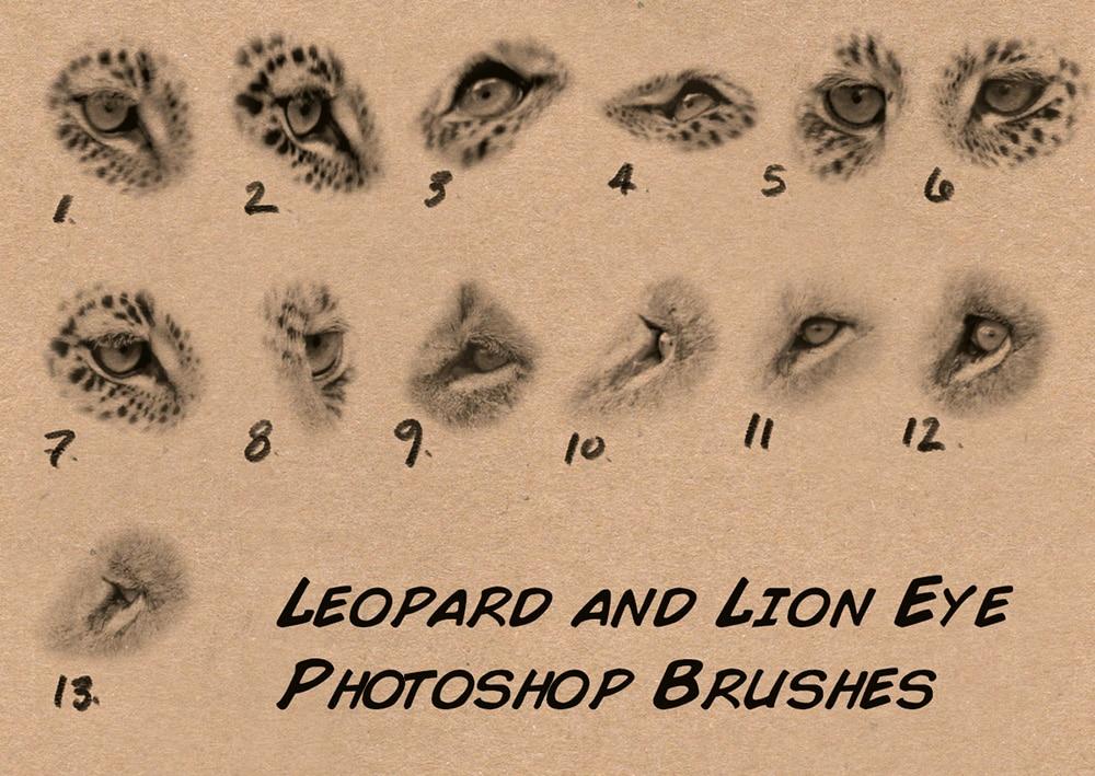 Custom Photoshop Brushes - Set 4 (Lion & Leopard Eyes)