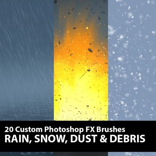 Rain Snow Dust Debris Photoshop Brushes