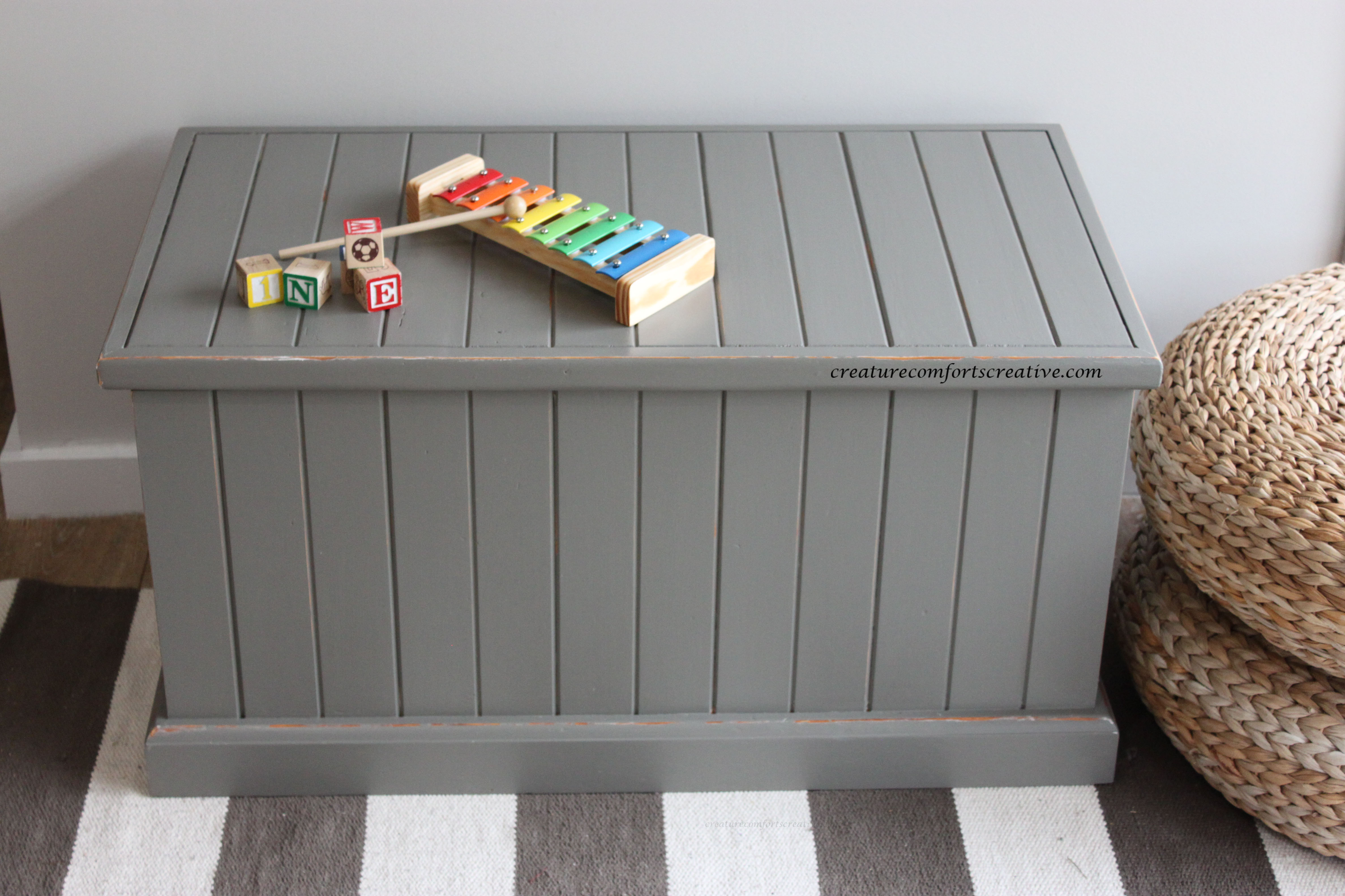 DIY Distressed, Up-cycled Hinged Toy Box