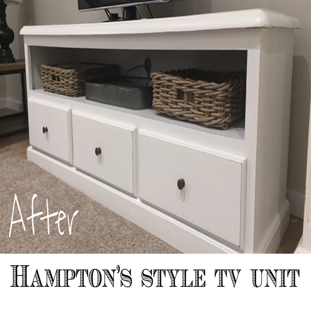 How To Up-cycle A TV Unit: Hampton's Style, without getting dirty.