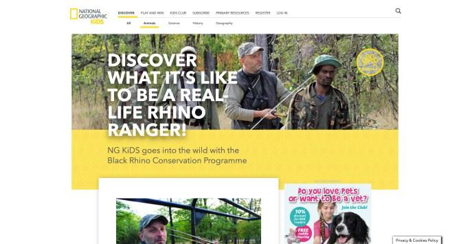 Nat Geo Website screenshot