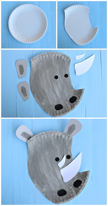 Rhino paper plate crafts
