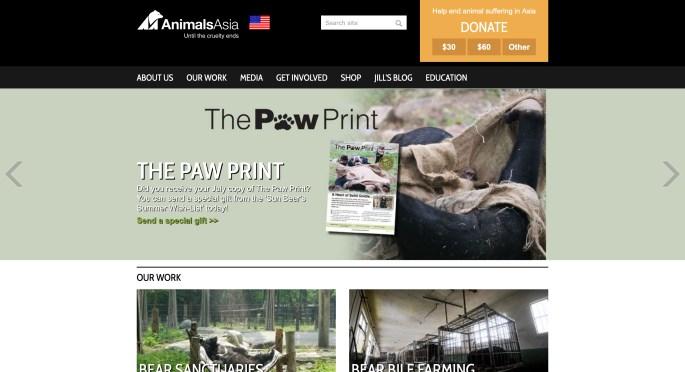 Animals Asia website screenshot Asiatic Black Bear facts