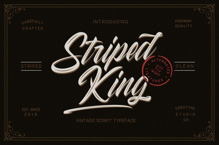 Preview image of Striped King Vintage Script