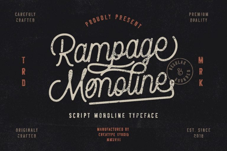 Preview image of Rampage Monoline Script