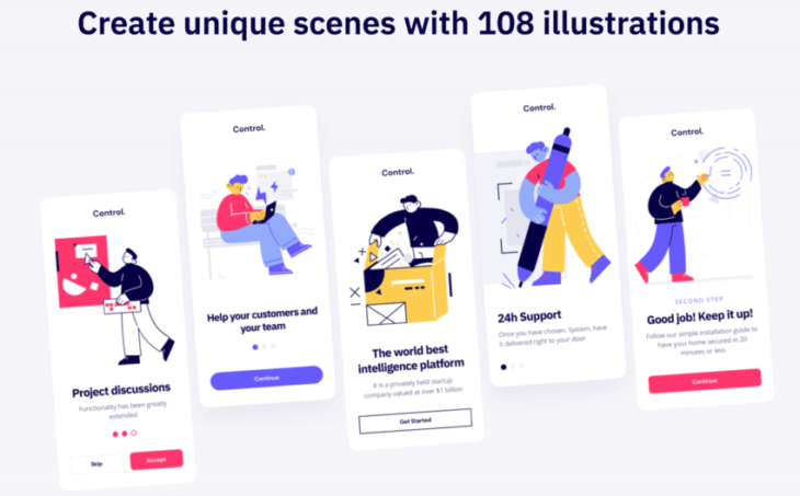 picture of Control – A Jumbo Set of 108 Stylish and Customizable Illustrations