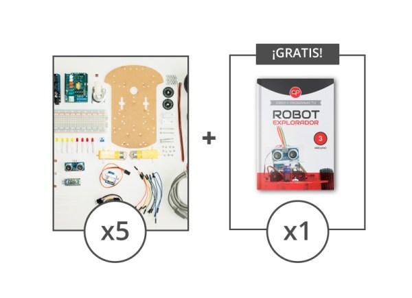 5 kits componentes mas 1 libro robot gratis