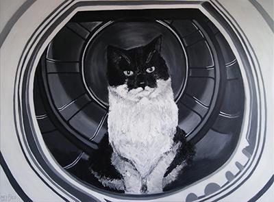 Creayv | Portret | Kat in de wasmachine | Acrylverf | 2011