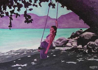 Creayv | Portret | Pascalle's paradijs | Acrylverf | 2013