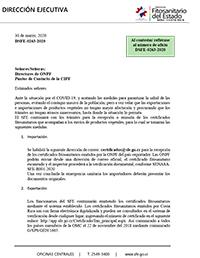 COMUNICADO Servicio Fitosanitario del Estado DSFE-0263-2020