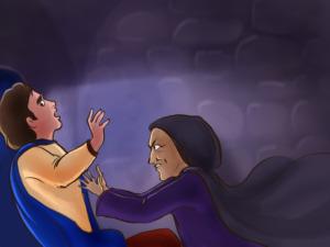 Rapunzel -  Bruxa o empurra da torre
