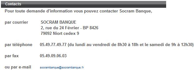 socram banque contact