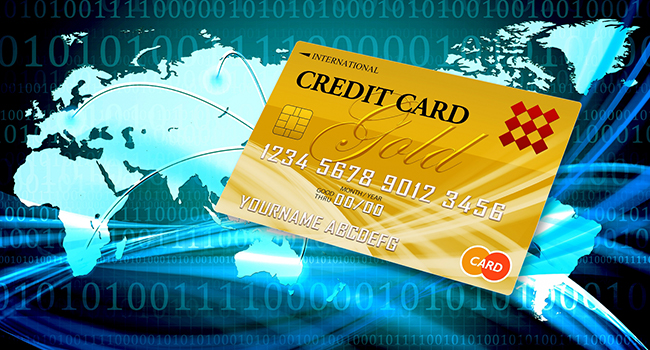 世界地図とクレジットカード