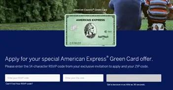 amex.us greenrsvp screenshot