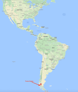Puerto Natales, Chile on map of South America