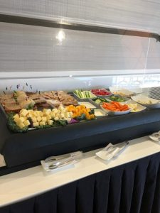Fresh food buffet the Lounge at Boston Logan Airport