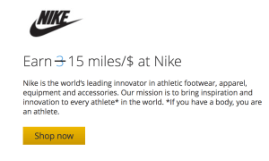 United MileagePlus Shopping Deal with Nike