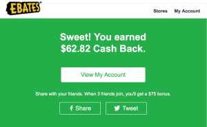 Ebates cash back from eBags