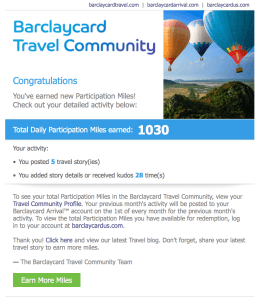 Barclaycard Travel Community Participation Miles