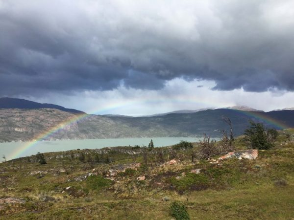 Rainbow over Grey Lake in Torres del Paine