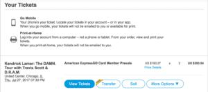 Ticketmaster resale button